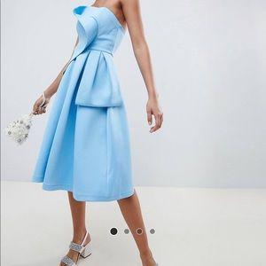 Asos design origami top blue strapless dress